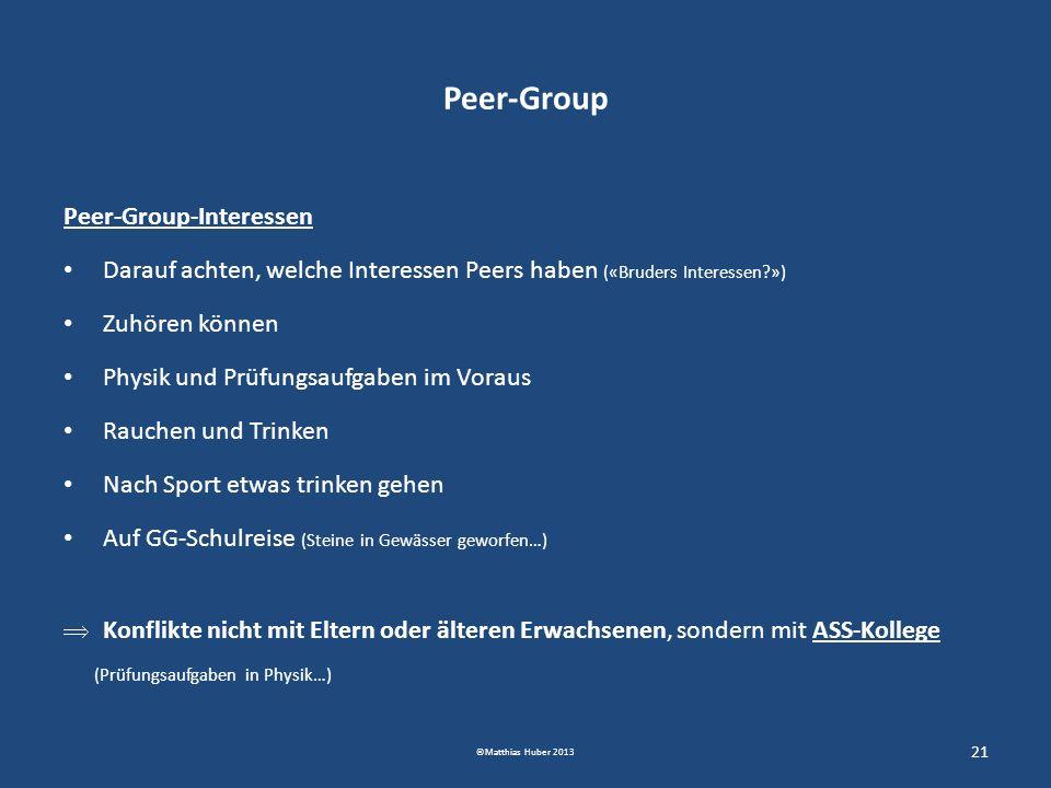 Peer-Group Peer-Group-Interessen Darauf achten, welche Interessen Peers haben («Bruders Interessen?») Zuhören können Physik und Prüfungsaufgaben im Vo