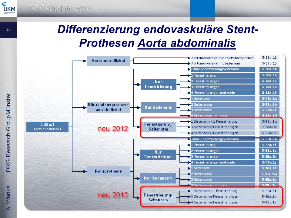 A. Wenke DRG-Research-Group Münster Differenzierung endovaskuläre Stent- Prothesen Aorta abdominalis 5 neu 2012
