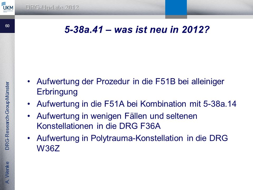 A.Wenke DRG-Research-Group Münster 5-38a.41 – was ist neu in 2012.