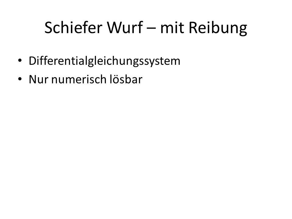 Schiefer Wurf – mit Reibung Differentialgleichungssystem Nur numerisch lösbar