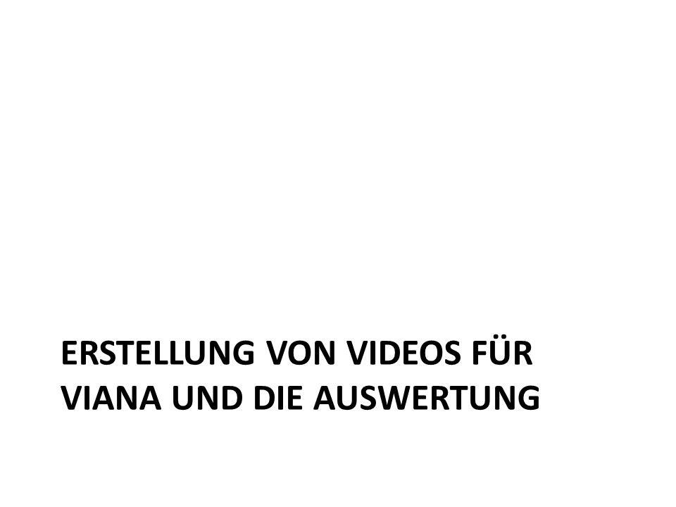 ERSTELLUNG VON VIDEOS FÜR VIANA UND DIE AUSWERTUNG