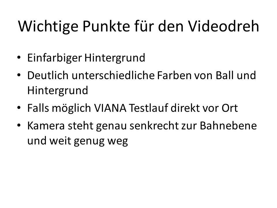 Wichtige Punkte für den Videodreh Einfarbiger Hintergrund Deutlich unterschiedliche Farben von Ball und Hintergrund Falls möglich VIANA Testlauf direk