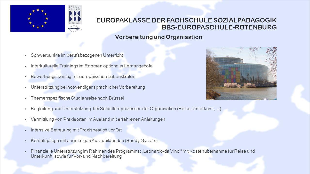 EUROPAKLASSE DER FACHSCHULE SOZIALPÄDAGOGIK BBS-EUROPASCHULE-ROTENBURG Schwerpunkte im berufsbezogenen Unterricht Interkulturelle Trainings im Rahmen