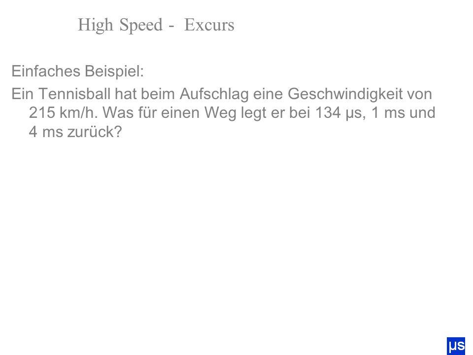 High Speed - Excurs Bewegungsunschärfe Einfaches Beispiel: Ein Tennisball hat beim Aufschlag eine Geschwindigkeit von 215 km/h. Was für einen Weg legt