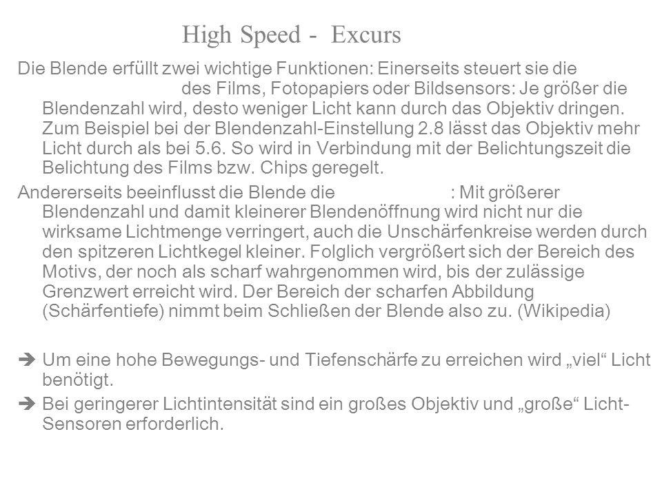 High Speed - Excurs Blende Die Blende erfüllt zwei wichtige Funktionen: Einerseits steuert sie die Stärke der Beleuchtung des Films, Fotopapiers oder