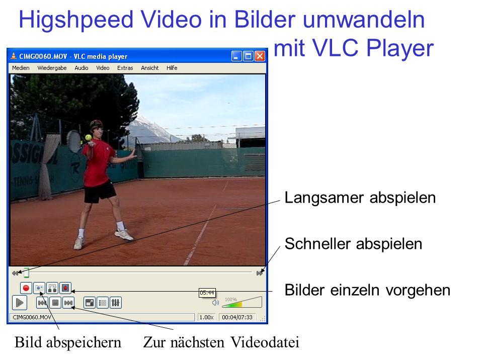 Higshpeed Video in Bilder umwandeln mit VLC Player Langsamer abspielen Schneller abspielen Bilder einzeln vorgehen Bild abspeichern Zur nächsten Video