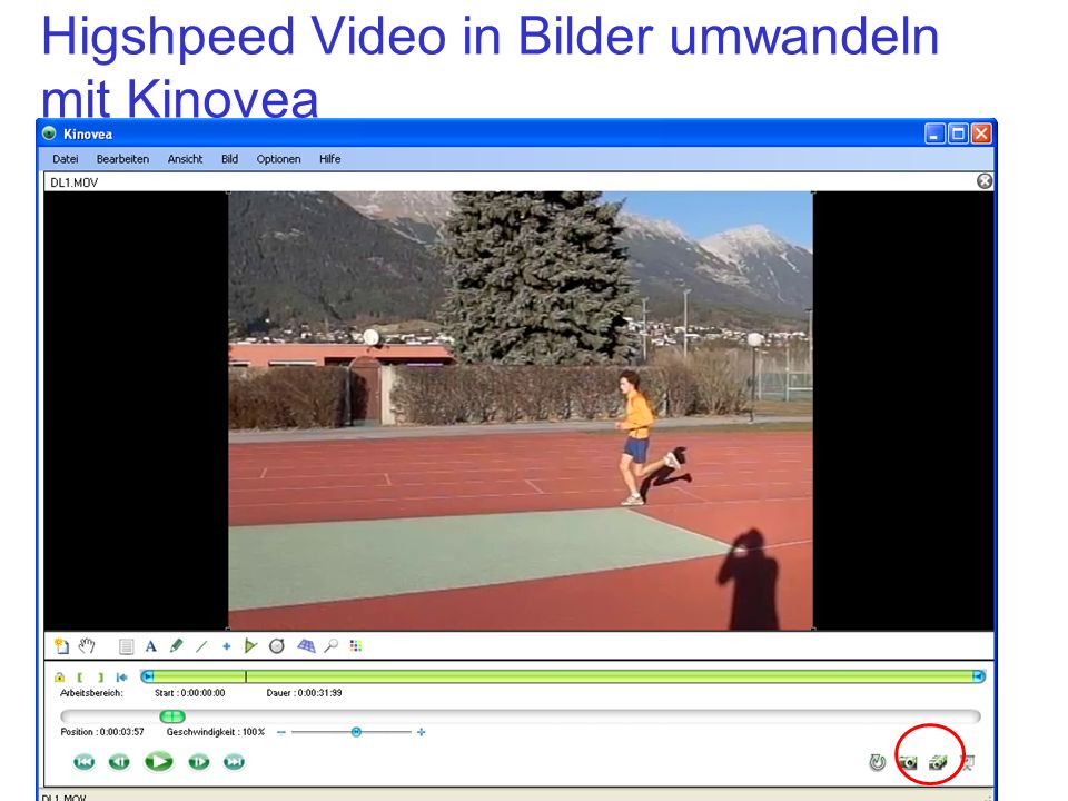 Higshpeed Video in Bilder umwandeln mit Kinovea