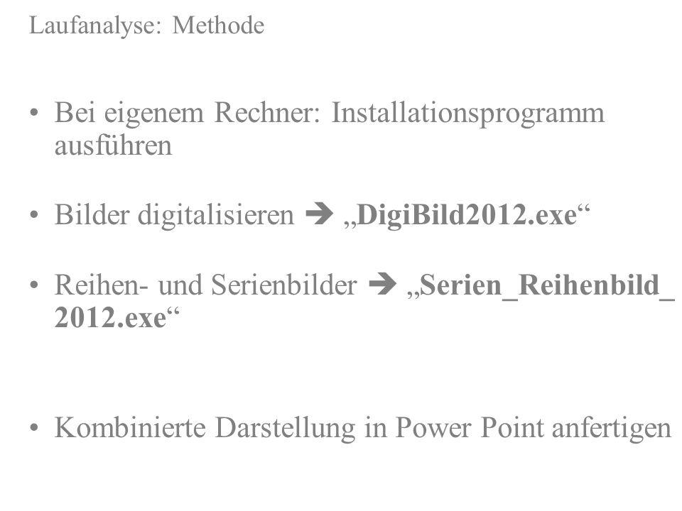 Laufanalyse: Methode Bei eigenem Rechner: Installationsprogramm ausführen http://sport1.uibk.ac.at/lehre/kurt/Programme/Installer.zip Bilder digitalis