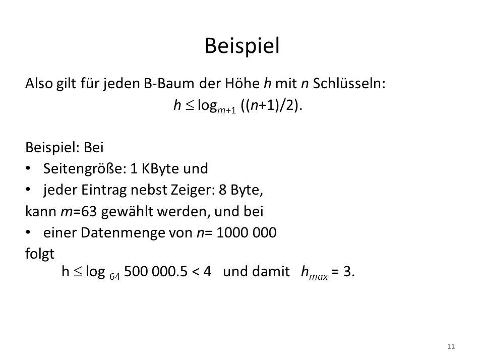 11 Beispiel Also gilt für jeden B-Baum der Höhe h mit n Schlüsseln: h log m+1 ((n+1)/2). Beispiel: Bei Seitengröße: 1 KByte und jeder Eintrag nebst Ze