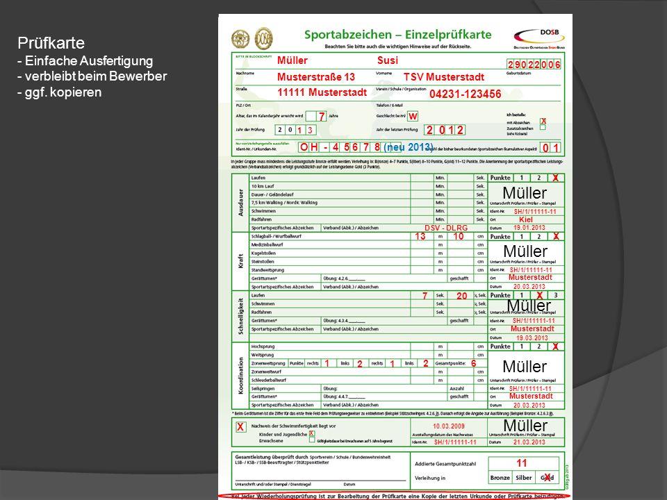 Prüfkarte - Einfache Ausfertigung - verbleibt beim Bewerber - ggf.