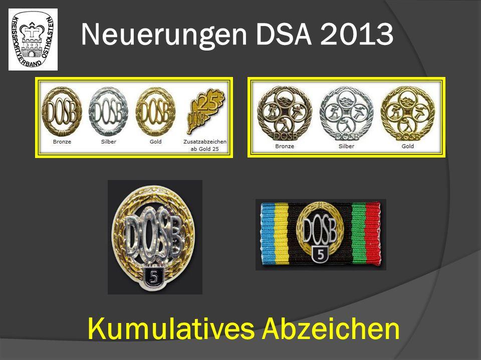 Neuerungen DSA 2013 Kumulatives Abzeichen