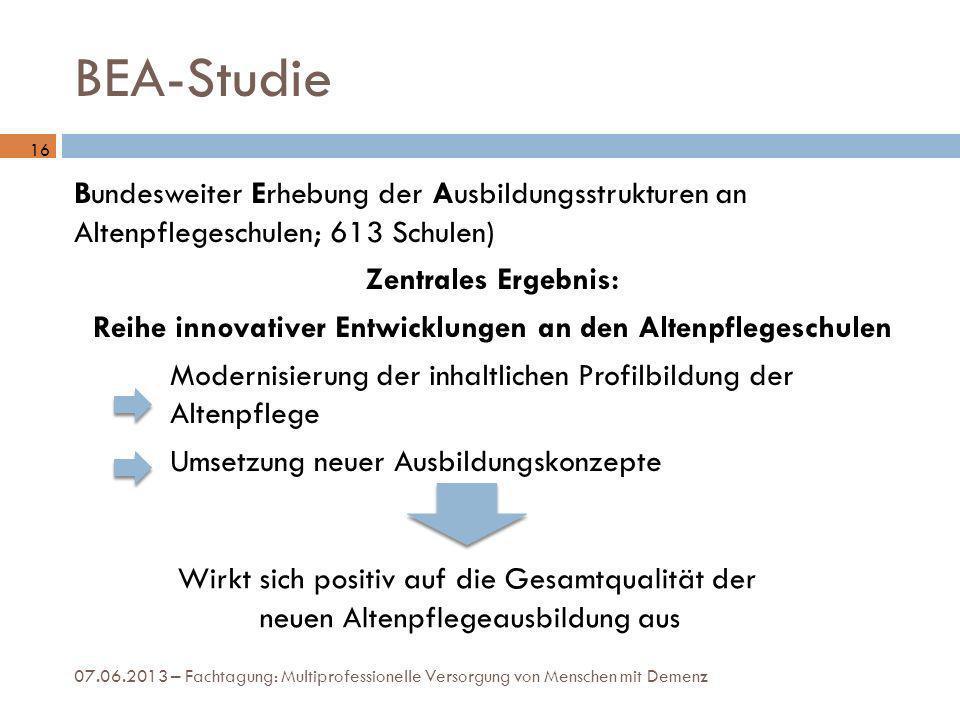 BEA-Studie Bundesweiter Erhebung der Ausbildungsstrukturen an Altenpflegeschulen; 613 Schulen) Zentrales Ergebnis: Reihe innovativer Entwicklungen an