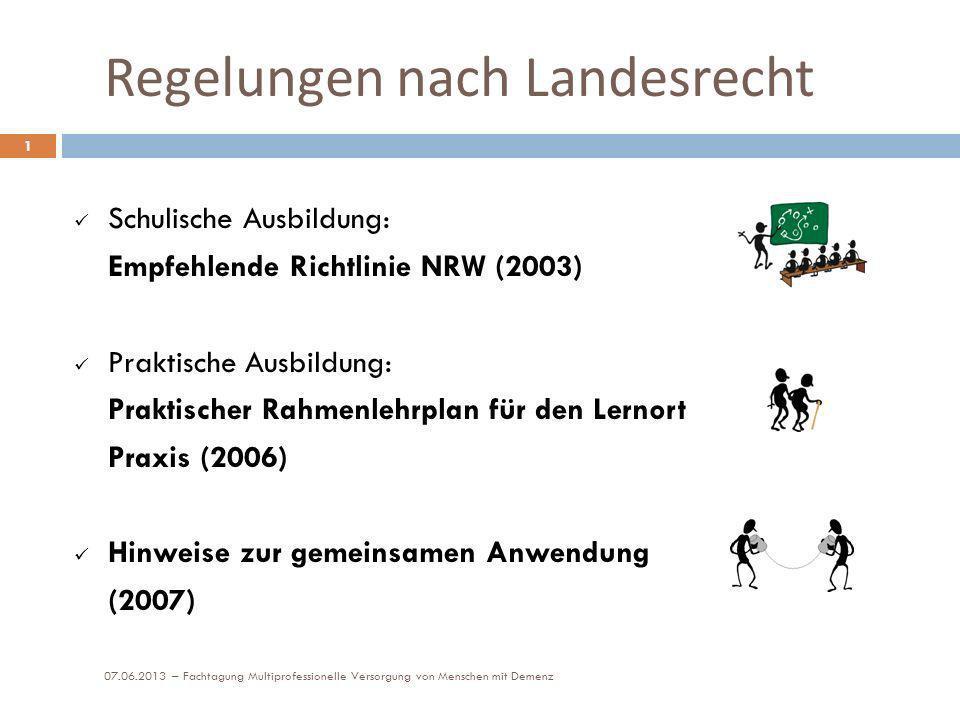 Regelungen nach Landesrecht 07.06.2013 – Fachtagung Multiprofessionelle Versorgung von Menschen mit Demenz 1 Schulische Ausbildung: Empfehlende Richtl