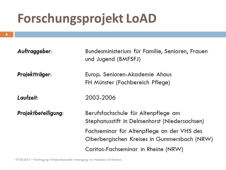Forschungsprojekt LoAD 8 Auftraggeber: Bundesministerium für Familie, Senioren, Frauen und Jugend (BMFSFJ) Projektträger: Europ. Senioren-Akademie Aha