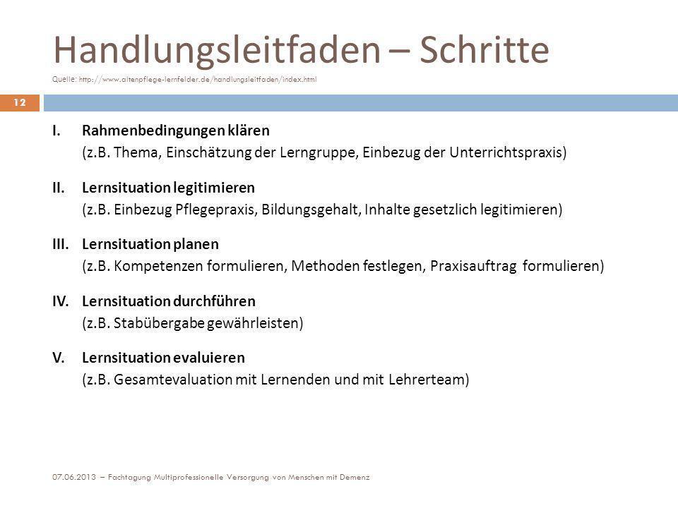 Handlungsleitfaden – Schritte Quelle: http://www.altenpflege-lernfelder.de/handlungsleitfaden/index.html 12 I. Rahmenbedingungen klären (z.B. Thema, E