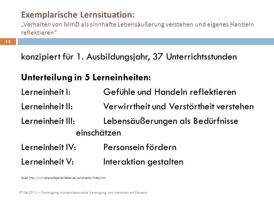 Exemplarische Lernsituation: Verhalten von MmD als sinnhafte Lebensäußerung verstehen und eigenes Handeln reflektieren 13 konzipiert für 1. Ausbildung
