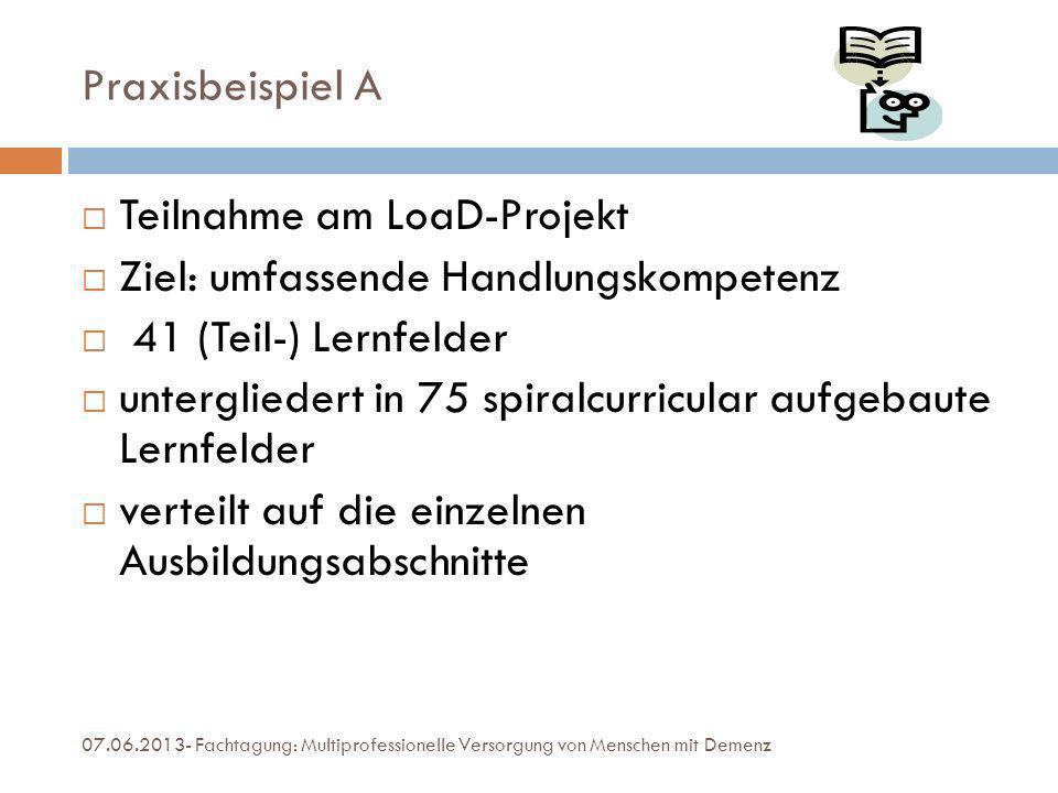Praxisbeispiel A Teilnahme am LoaD-Projekt Ziel: umfassende Handlungskompetenz 41 (Teil-) Lernfelder untergliedert in 75 spiralcurricular aufgebaute L