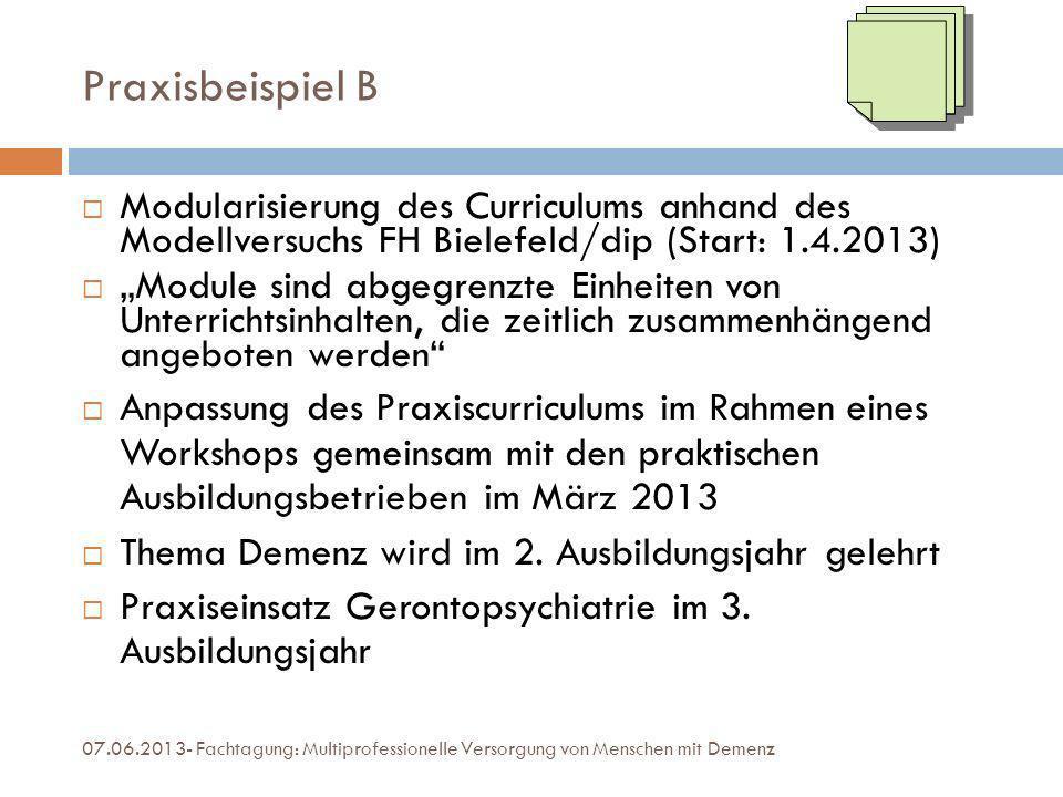 Praxisbeispiel B Modularisierung des Curriculums anhand des Modellversuchs FH Bielefeld/dip (Start: 1.4.2013) Module sind abgegrenzte Einheiten von Un