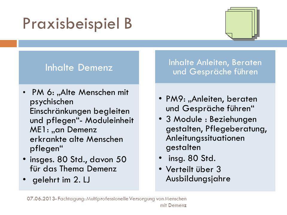 Praxisbeispiel B 07.06.2013- Fachtagung: Multiprofessionelle Versorgung von Menschen mit Demenz Inhalte Demenz PM 6: Alte Menschen mit psychischen Ein