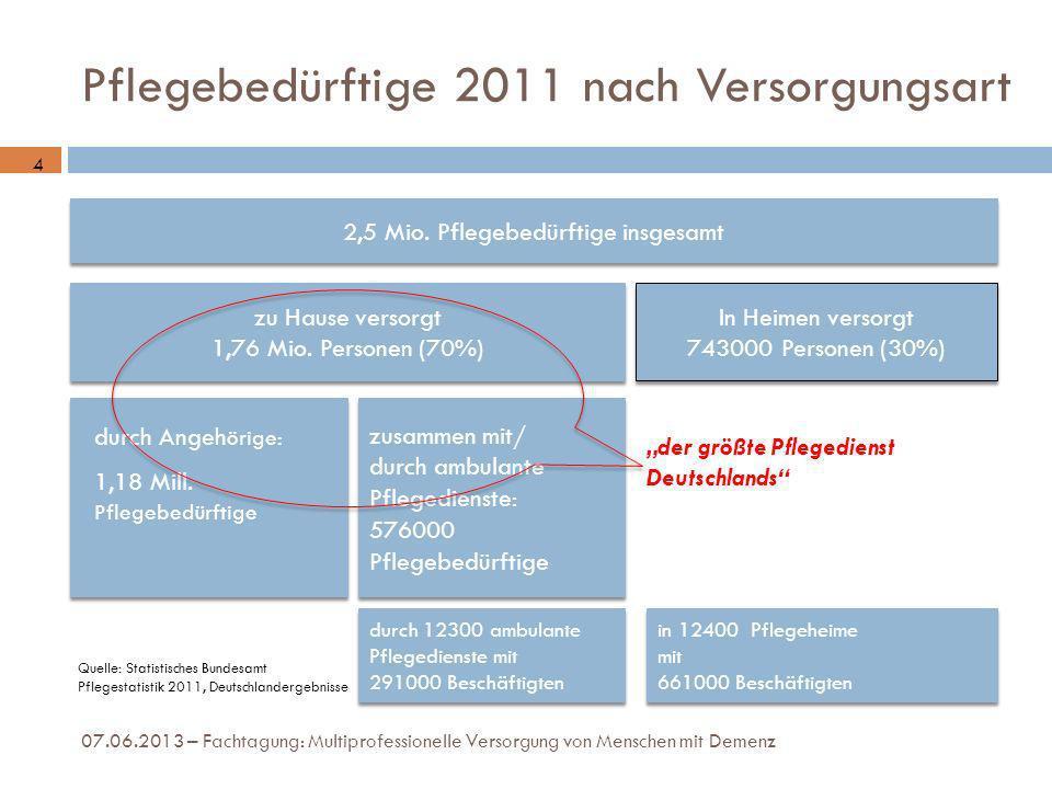 Pflegebedürftige 2011 nach Versorgungsart 2,5 Mio. Pflegebedürftige insgesamt zu Hause versorgt 1,76 Mio. Personen (70%) zu Hause versorgt 1,76 Mio. P