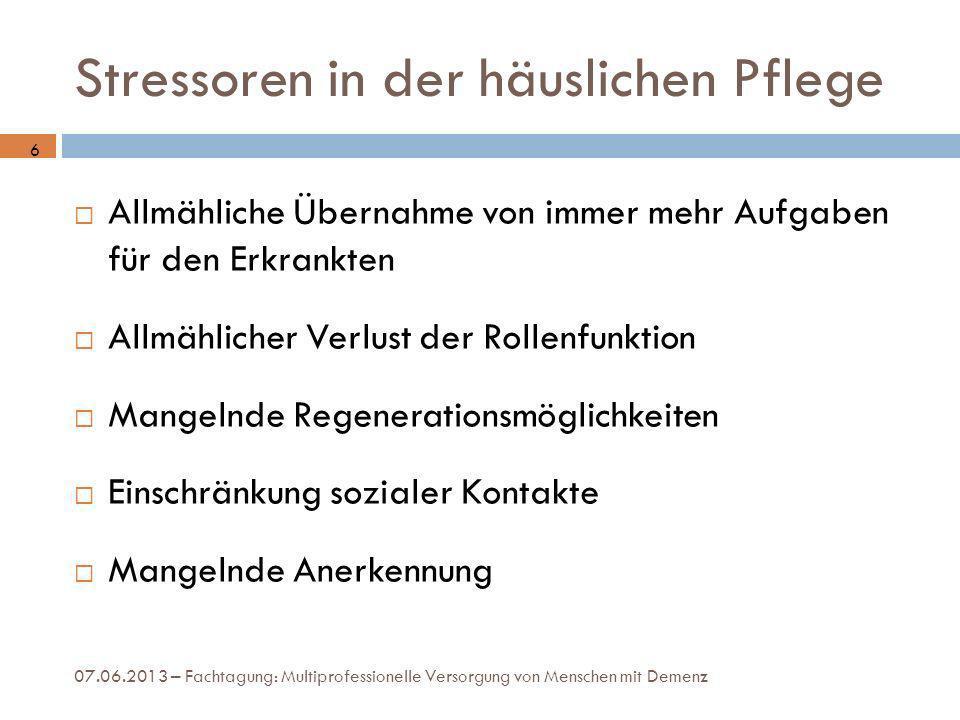 Stressoren in der häuslichen Pflege 07.06.2013 – Fachtagung: Multiprofessionelle Versorgung von Menschen mit Demenz Allmähliche Übernahme von immer me