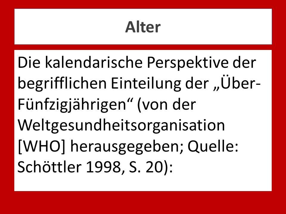 Alter Die kalendarische Perspektive der begrifflichen Einteilung der Über- Fünfzigjährigen (von der Weltgesundheitsorganisation [WHO] herausgegeben; Q