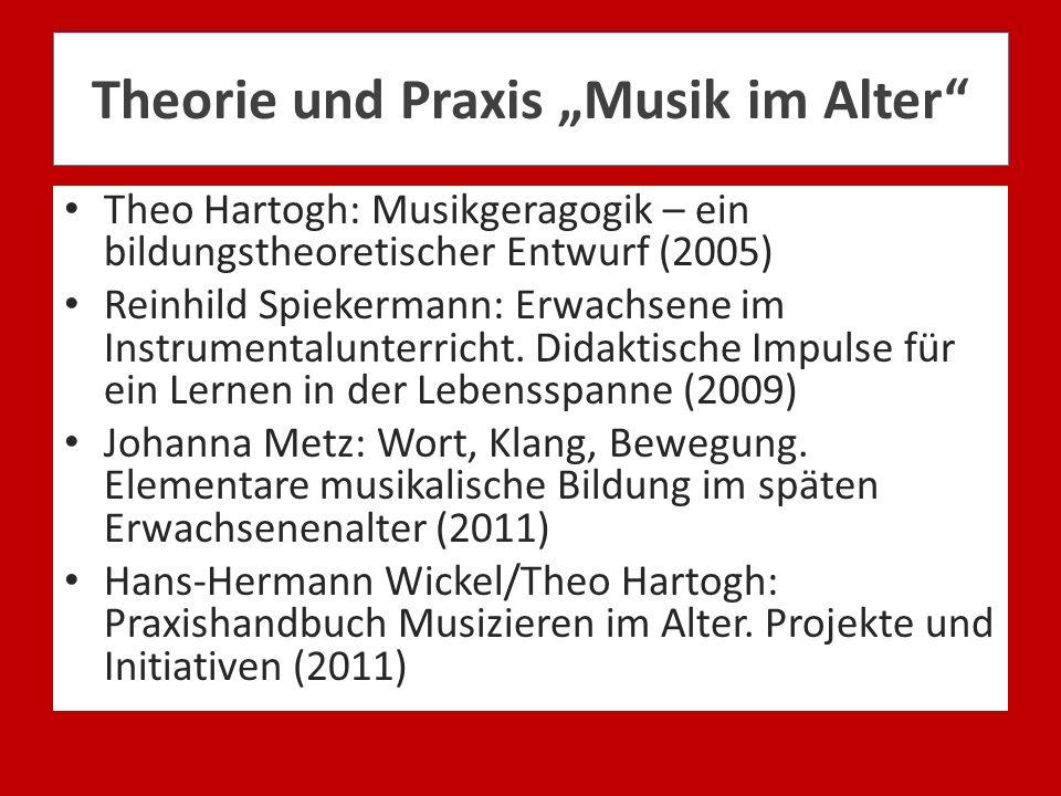 Theorie und Praxis Musik im Alter Theo Hartogh: Musikgeragogik – ein bildungstheoretischer Entwurf (2005) Reinhild Spiekermann: Erwachsene im Instrume
