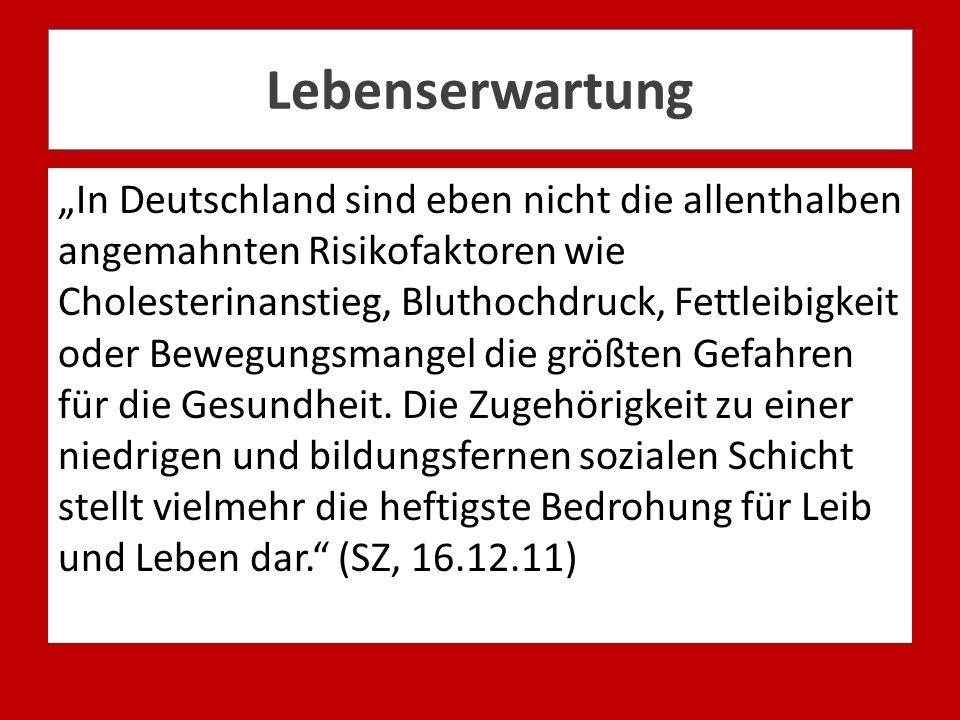Lebenserwartung In Deutschland sind eben nicht die allenthalben angemahnten Risikofaktoren wie Cholesterinanstieg, Bluthochdruck, Fettleibigkeit oder