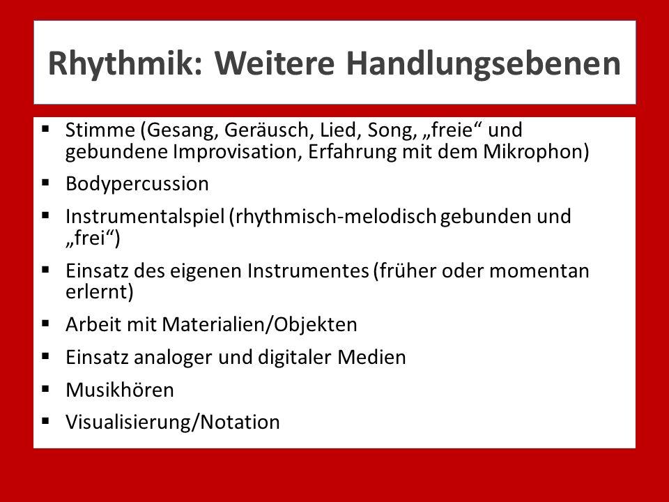 Rhythmik: Weitere Handlungsebenen Stimme (Gesang, Geräusch, Lied, Song, freie und gebundene Improvisation, Erfahrung mit dem Mikrophon) Bodypercussion