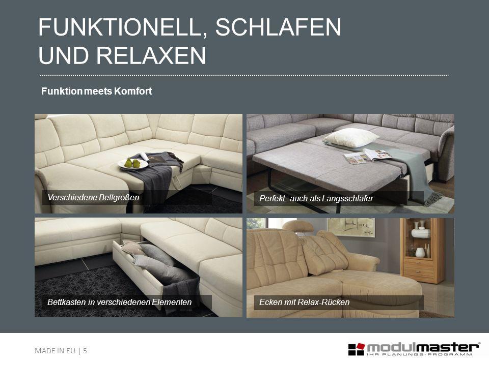 FUNKTIONELL, SCHLAFEN UND RELAXEN Funktion meets Komfort Bettkasten in verschiedenen Elementen Verschiedene Bettgrößen Perfekt: auch als Längsschläfer