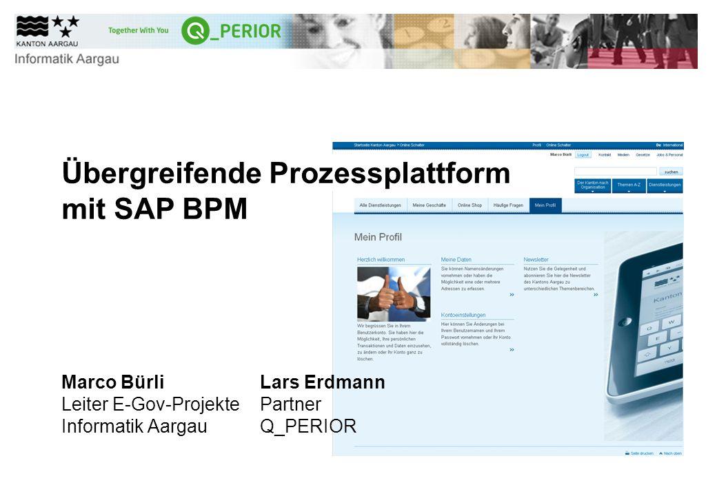 E-Government - Marco Bürli - Informatik Aargau 2 Abstrakt Mittwoch 12.06.2013 - 16:15-16:40 Übergreifende Prozessplattform mit SAP BPM (Level: Deep dive) Wie kann SAP BPM dazu beitragen, den Überblick über ein vielseitiges Leistungsspektrum zu behalten.