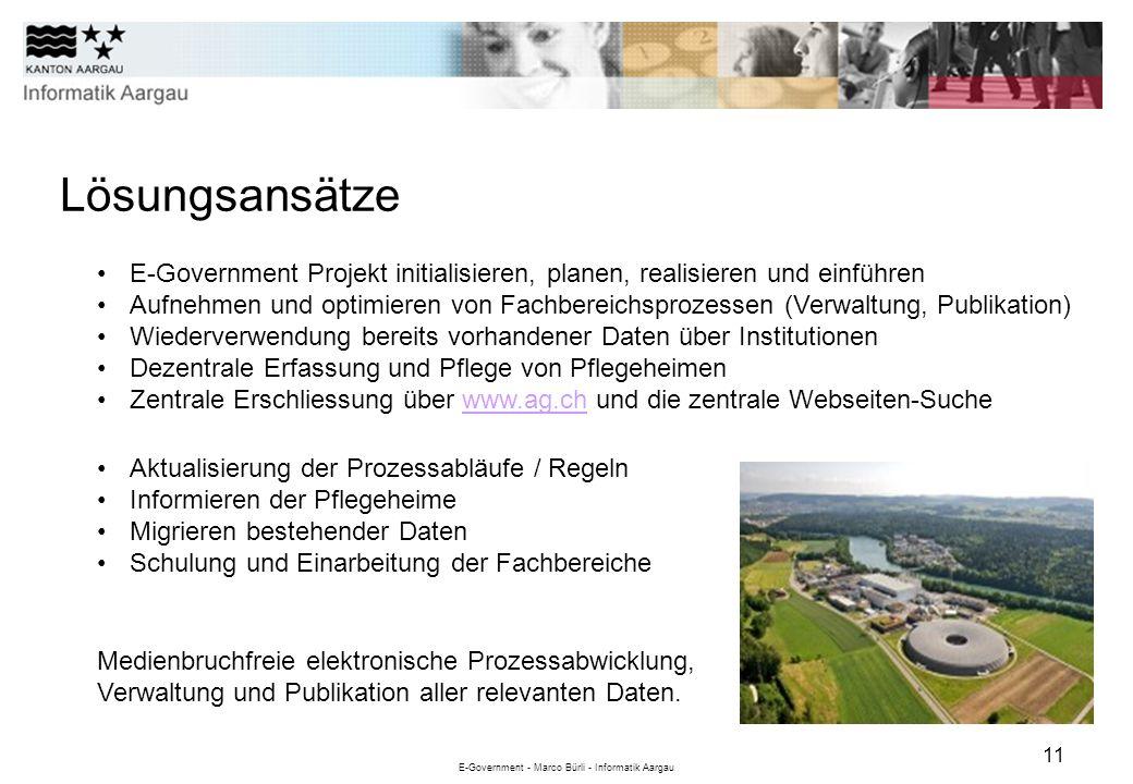 E-Government - Marco Bürli - Informatik Aargau 11 Lösungsansätze E-Government Projekt initialisieren, planen, realisieren und einführen Aufnehmen und