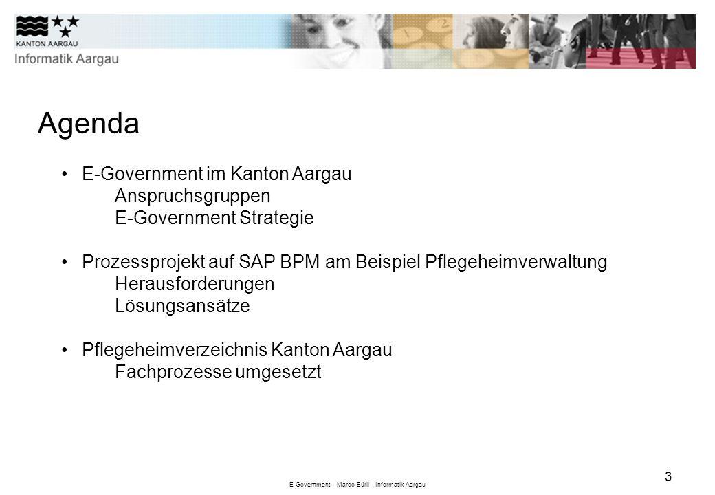 E-Government - Marco Bürli - Informatik Aargau 3 Agenda E-Government im Kanton Aargau Anspruchsgruppen E-Government Strategie Prozessprojekt auf SAP B