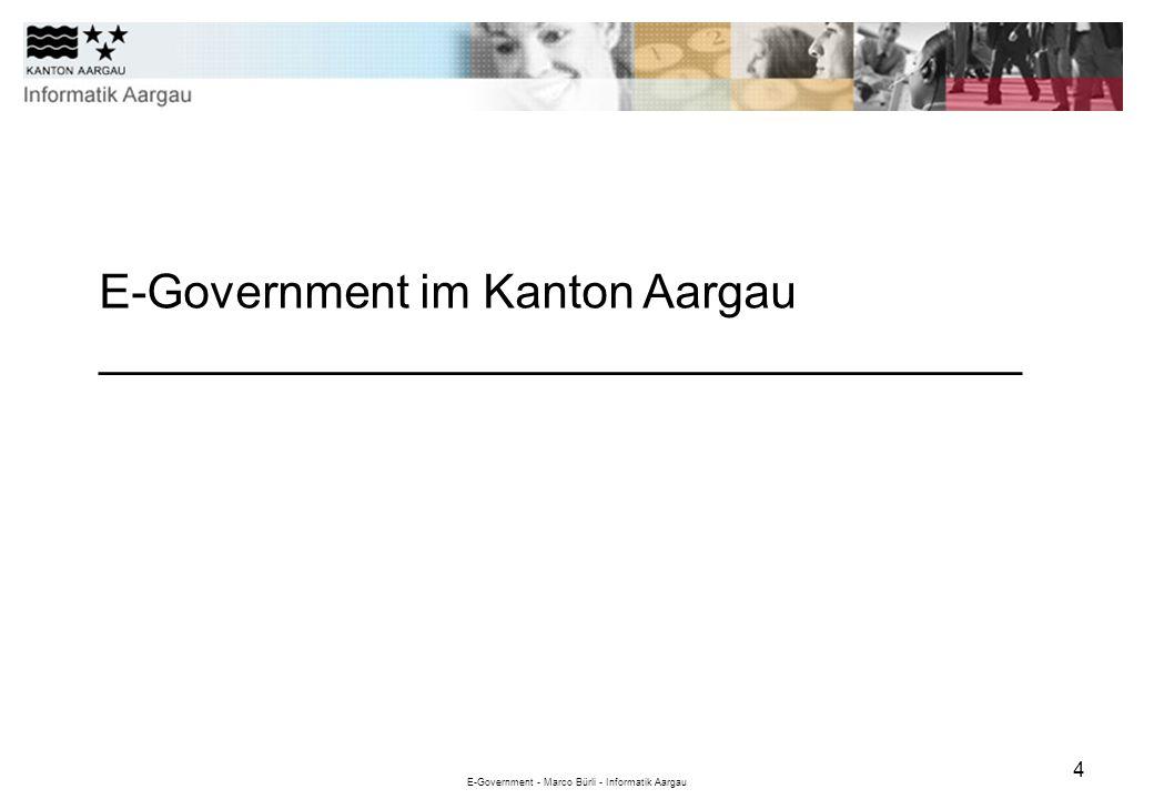 E-Government - Marco Bürli - Informatik Aargau 5 Quelle: UBS 2012 216 Gemeinden 628000 Einwohner 1400 km 2 Fläche 31000 Betriebe mit ca.