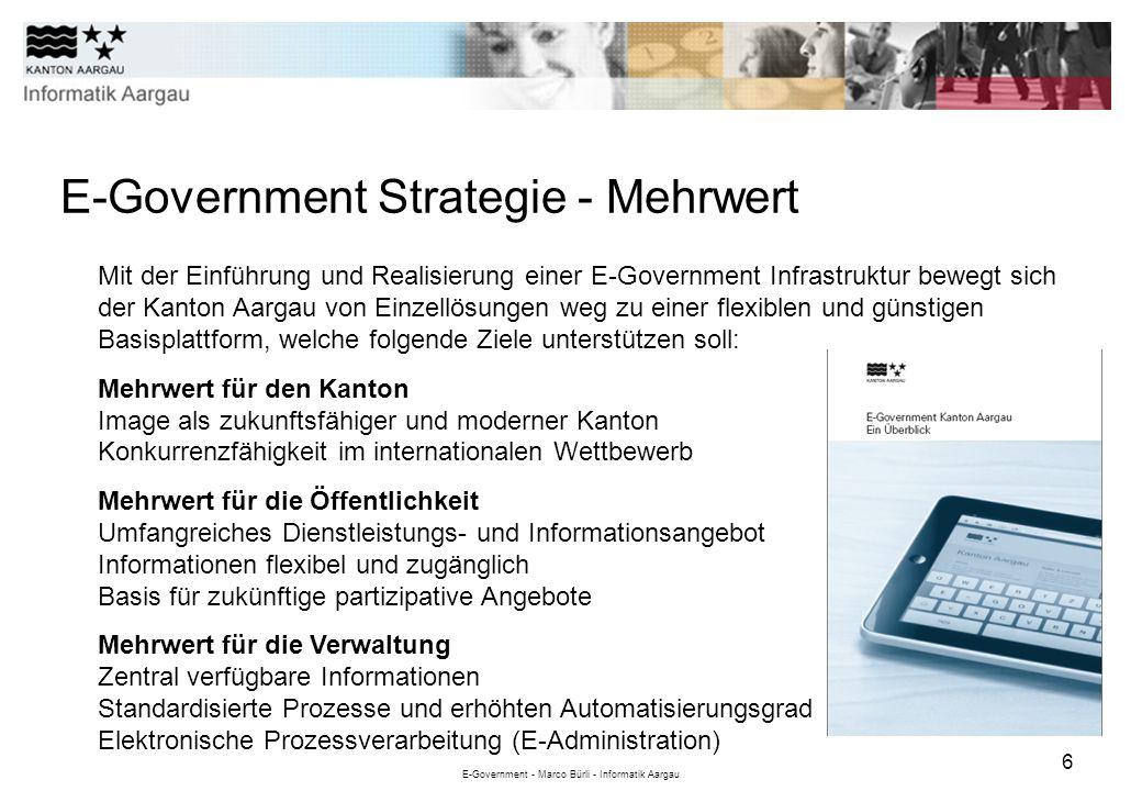 E-Government - Marco Bürli - Informatik Aargau 6 E-Government Strategie - Mehrwert Mit der Einführung und Realisierung einer E-Government Infrastruktu