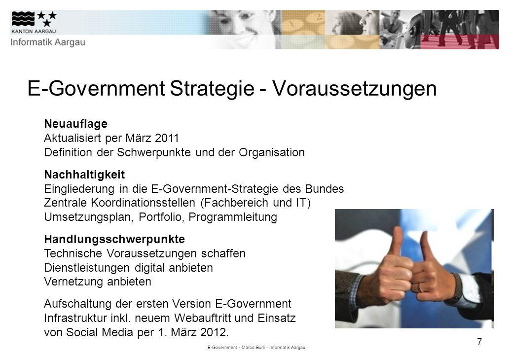 E-Government - Marco Bürli - Informatik Aargau 7 E-Government Strategie - Voraussetzungen Neuauflage Aktualisiert per März 2011 Definition der Schwerp