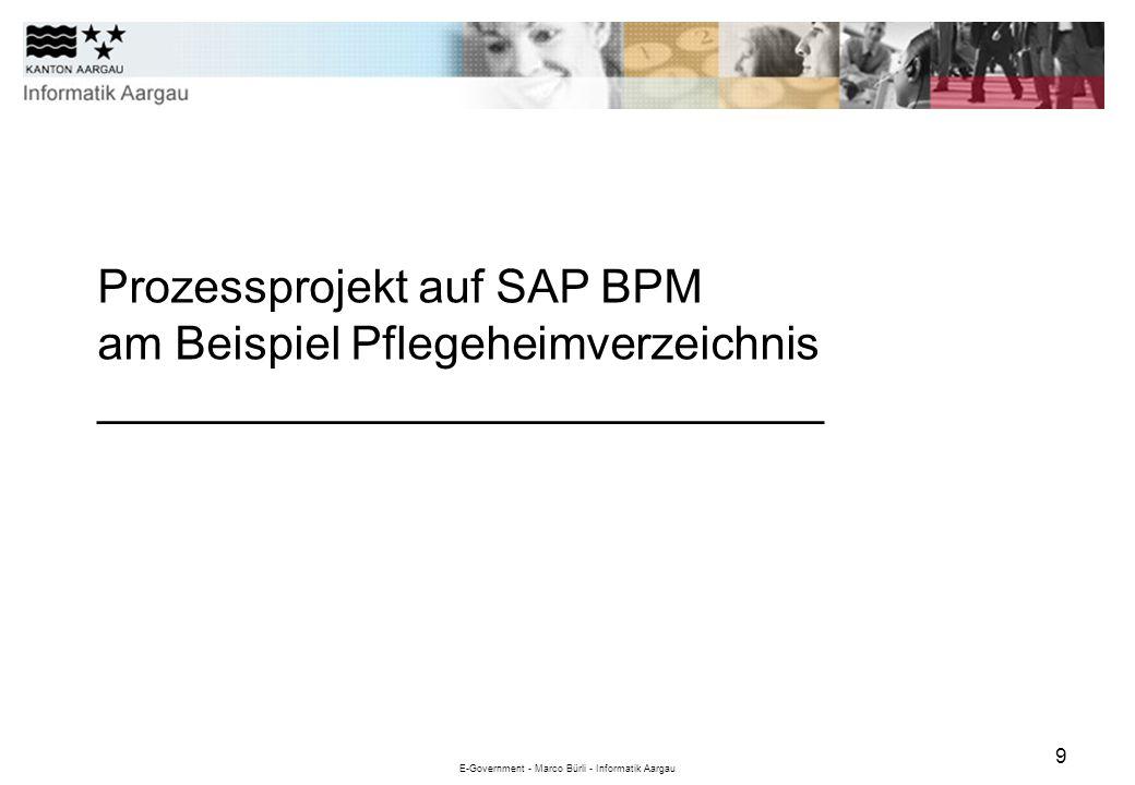 E-Government - Marco Bürli - Informatik Aargau 9 Prozessprojekt auf SAP BPM am Beispiel Pflegeheimverzeichnis ____________________________
