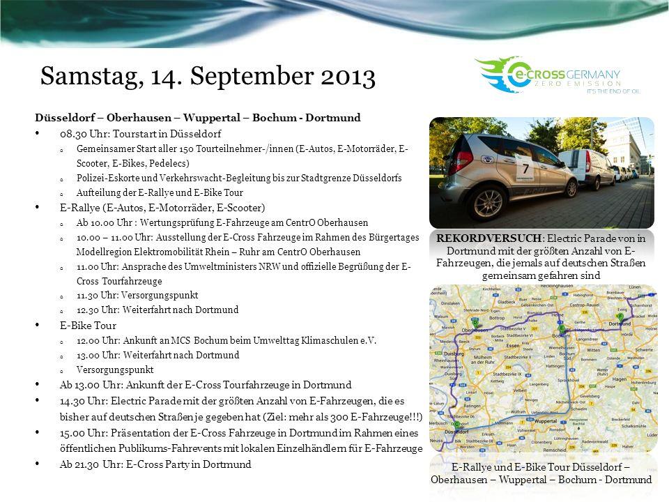 Samstag, 14. September 2013 Düsseldorf – Oberhausen – Wuppertal – Bochum - Dortmund 08.30 Uhr: Tourstart in Düsseldorf o Gemeinsamer Start aller 150 T