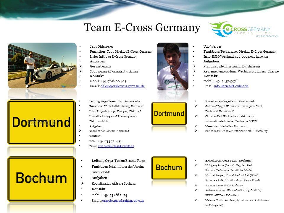Team E-Cross Germany Jens Ohlemeyer Funktion: Tour Direktor E-Cross Germany Info: Initiator E-Cross Germany Aufgaben: Gesamtleitung Sponsoring & Forma