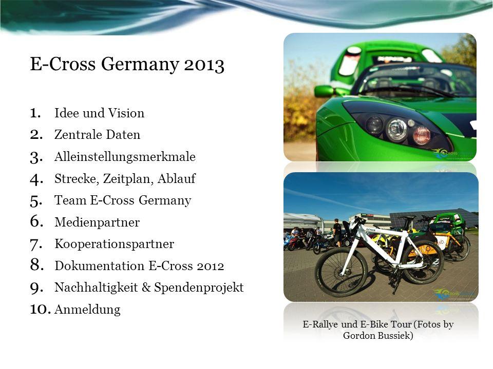 E-Cross Germany 2013 1. Idee und Vision 2. Zentrale Daten 3. Alleinstellungsmerkmale 4. Strecke, Zeitplan, Ablauf 5. Team E-Cross Germany 6. Medienpar