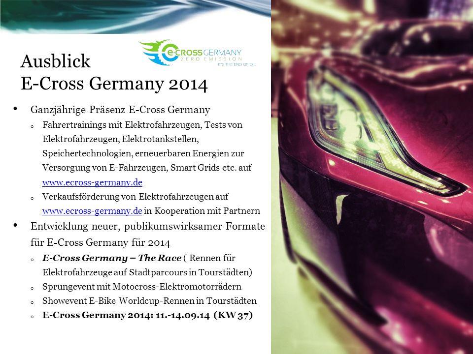 Ausblick E-Cross Germany 2014 Ganzjährige Präsenz E-Cross Germany o Fahrertrainings mit Elektrofahrzeugen, Tests von Elektrofahrzeugen, Elektrotankste