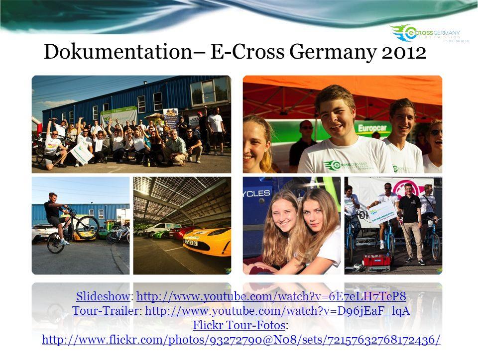 Dokumentation– E-Cross Germany 2012 SlideshowSlideshow: http://www.youtube.com/watch?v=6E7eLH7TeP8http://www.youtube.com/watch?v=6E7eLH7TeP8 Tour-Trai