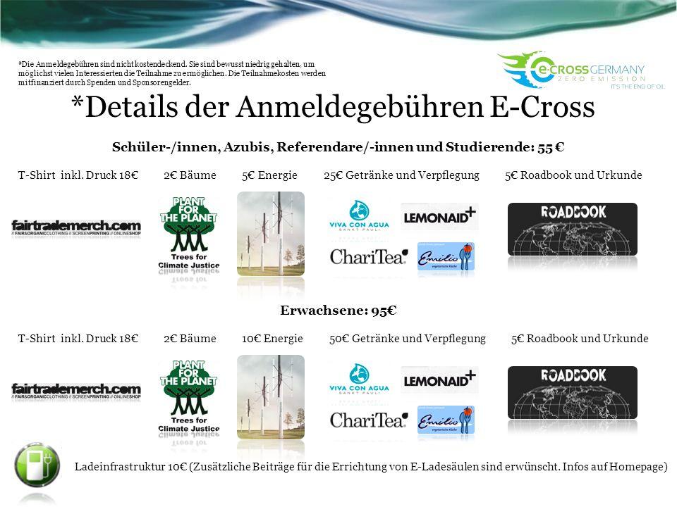 *Details der Anmeldegebühren E-Cross Schüler-/innen, Azubis, Referendare/-innen und Studierende: 55 T-Shirt inkl. Druck 18 2 Bäume 5 Energie 25 Geträn