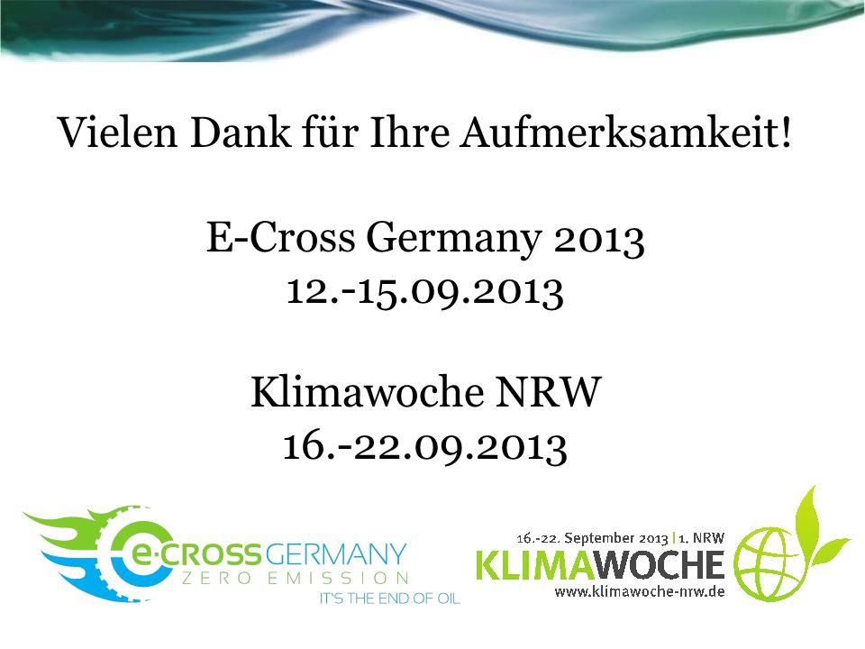 Vielen Dank für Ihre Aufmerksamkeit! E-Cross Germany 2013 12.-15.09.2013 Klimawoche NRW 16.-22.09.2013