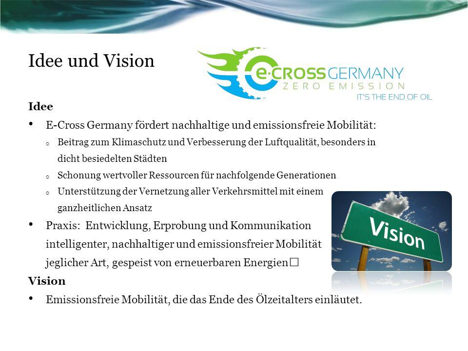 Idee und Vision Idee E-Cross Germany fördert nachhaltige und emissionsfreie Mobilität: o Beitrag zum Klimaschutz und Verbesserung der Luftqualität, be