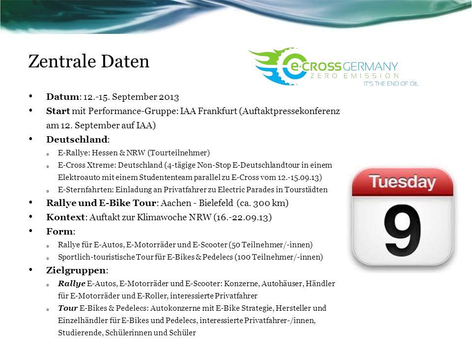 Zentrale Daten Datum: 12.-15. September 2013 Start mit Performance-Gruppe: IAA Frankfurt (Auftaktpressekonferenz am 12. September auf IAA) Deutschland