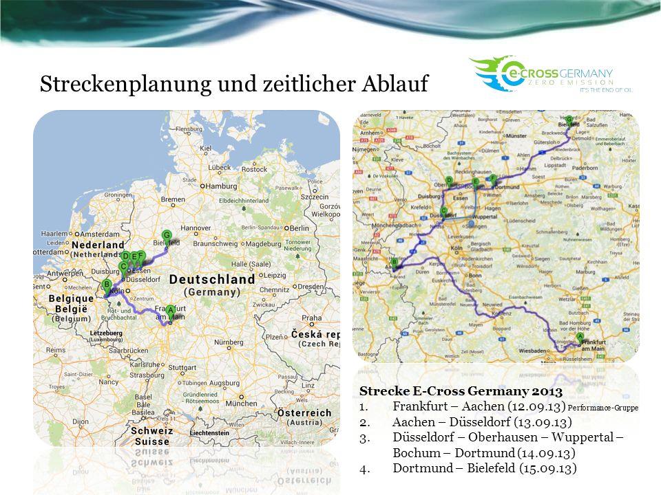Streckenplanung und zeitlicher Ablauf Strecke E-Cross Germany 2013 1.Frankfurt – Aachen (12.09.13) Performance-Gruppe 2.Aachen – Düsseldorf (13.09.13)