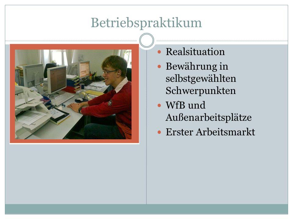 Betriebspraktikum Realsituation Bewährung in selbstgewählten Schwerpunkten WfB und Außenarbeitsplätze Erster Arbeitsmarkt