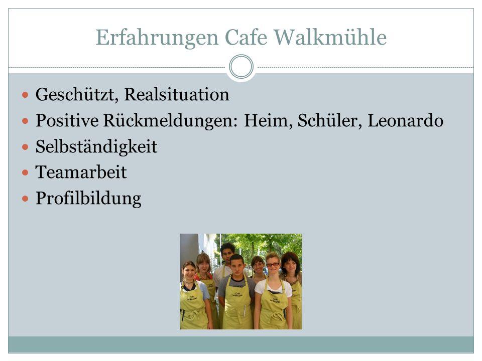 Erfahrungen Cafe Walkmühle Geschützt, Realsituation Positive Rückmeldungen: Heim, Schüler, Leonardo Selbständigkeit Teamarbeit Profilbildung