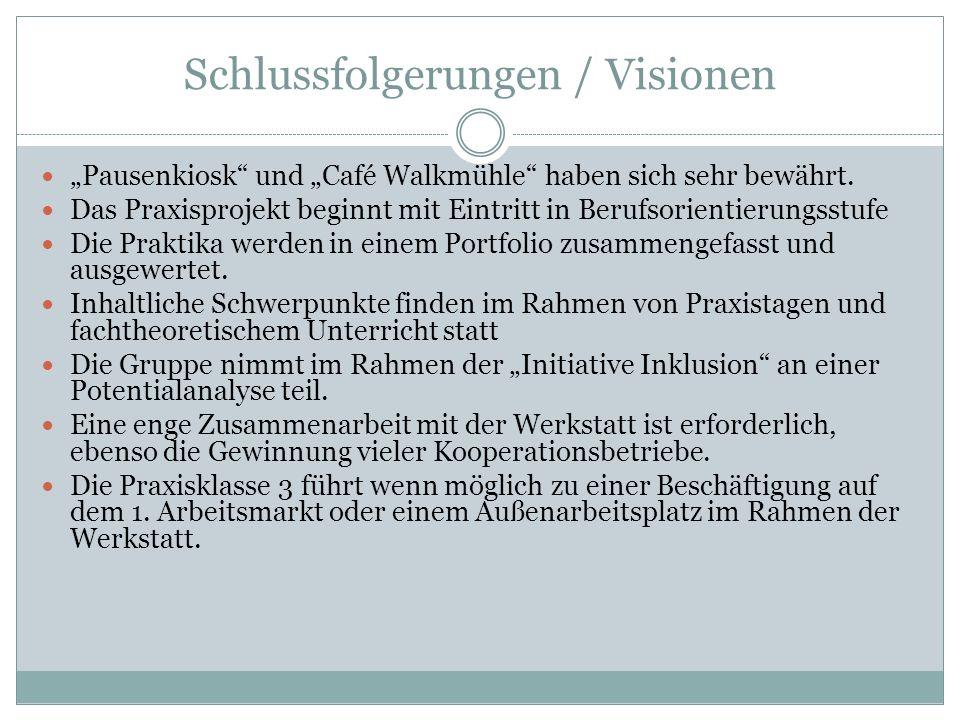Schlussfolgerungen / Visionen Pausenkiosk und Café Walkmühle haben sich sehr bewährt. Das Praxisprojekt beginnt mit Eintritt in Berufsorientierungsstu